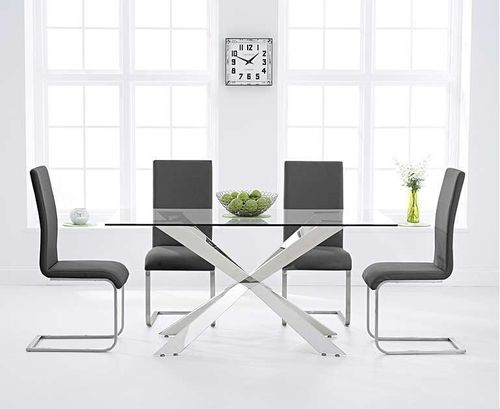 160cm glass dining table with 6 grey chairs set