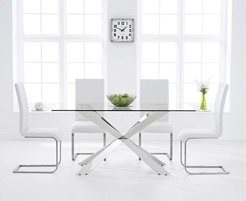 160cm glass dining table with 6 white chairs set