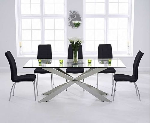 200cm glass dining table with 8 black chairs