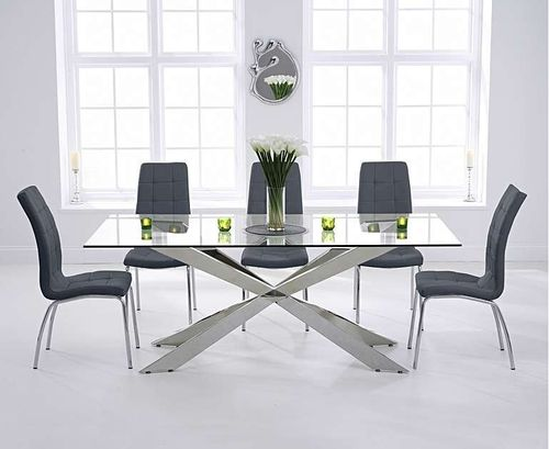200cm glass dining table with 8 grey chairs
