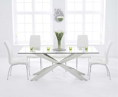 200cm glass dining table with 8 white chairs