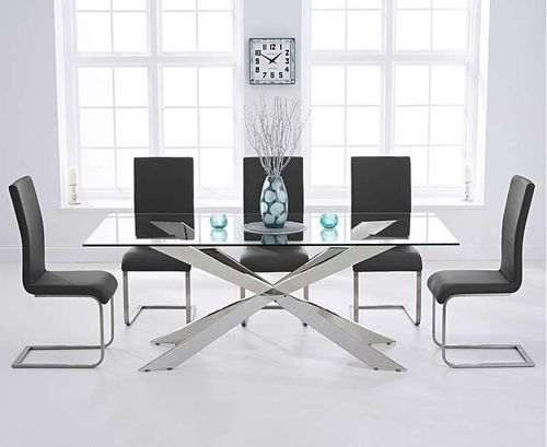 8 seater glass dining table with black chairs