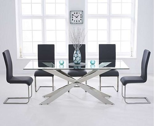 8 seater glass dining table with grey chairs