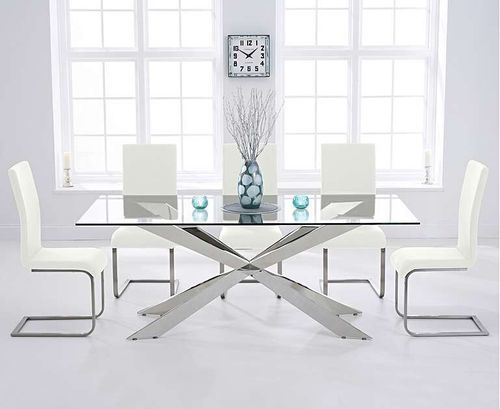 8 seater 200cm glass dining table with white chairs