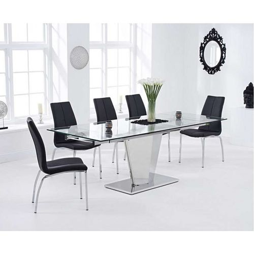 Glass & stainless steel dining table and 8 black chairs