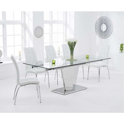 Glass & stainless steel dining table and 8 white chairs