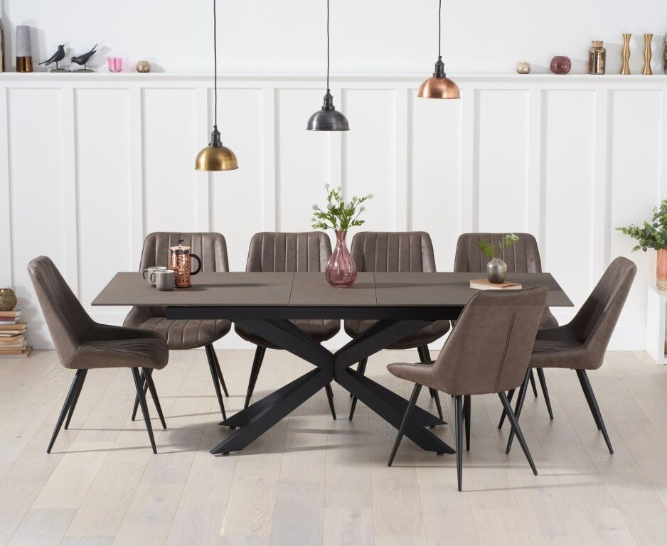 Industrial Glass Mix Stone Dining Table, Industrial Style Dining Room Chairs
