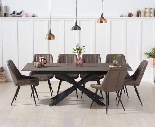 Industrial style glass mix stone dining table and 8 chairs