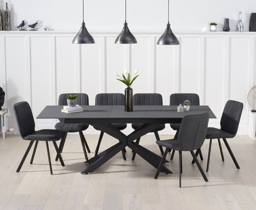 Grey glass mix stone dining table and 8 chairs