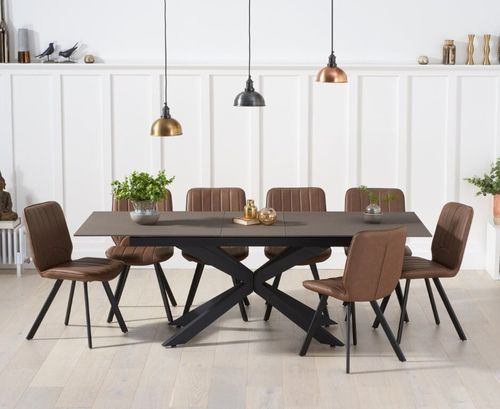 Industrial glass mix stone dining table with 8 chairs set