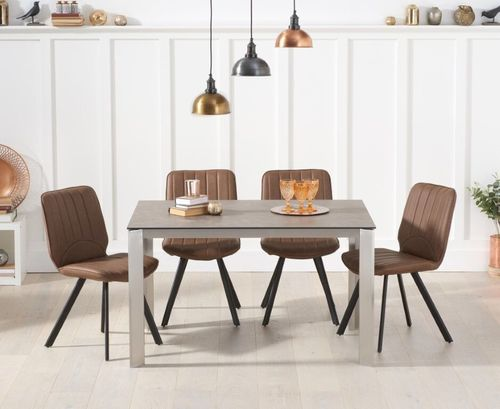 130cm brown ceramic dining table and 4 chairs