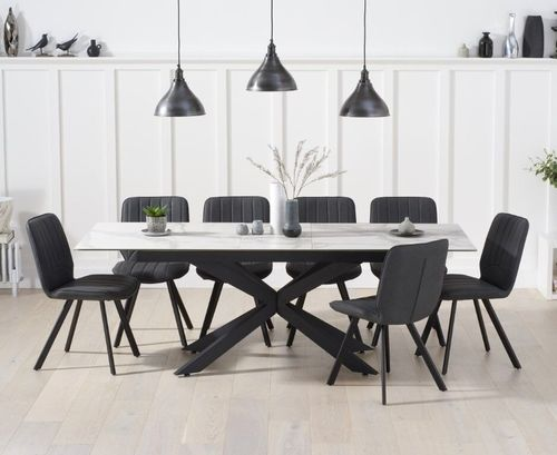 White ceramic glass dining table and 8 chairs