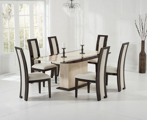 Brown with cream marble dining table and 6 chairs