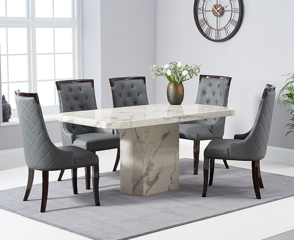 White grey veining marble dining table & 6 chairs - Homegenies