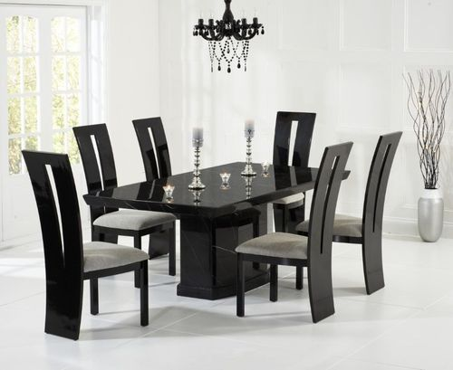 160cm Black marble dining table and 6 chairs