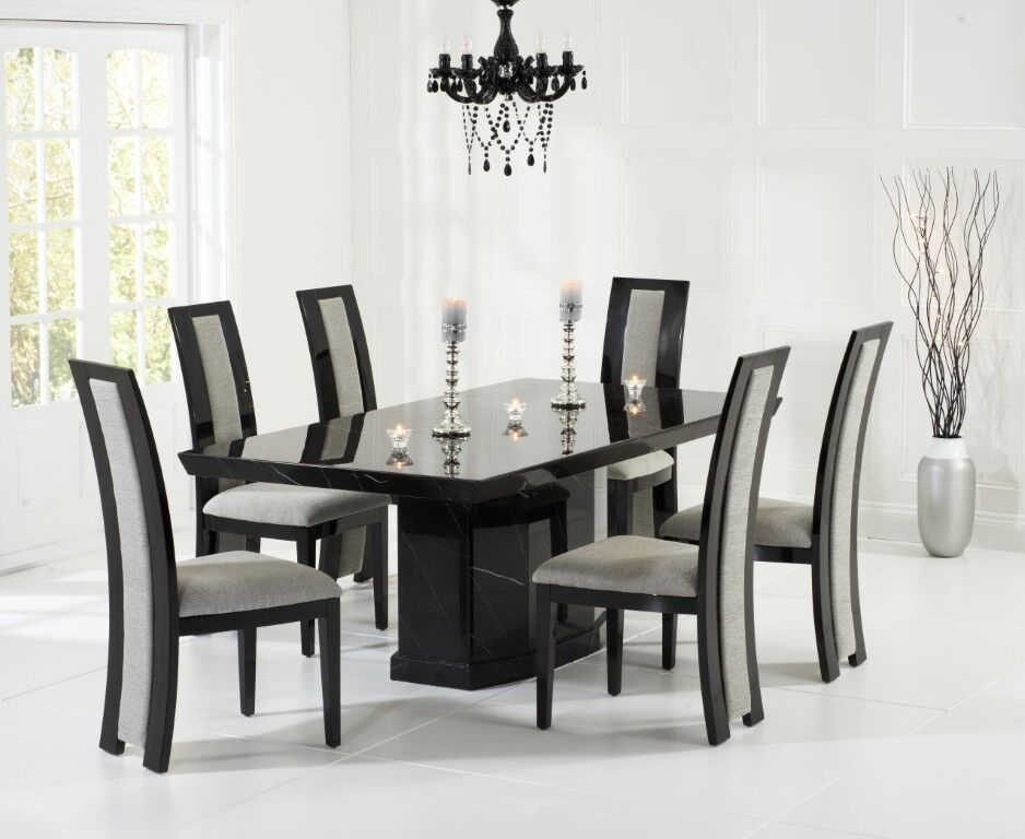 Black Marble Dining Table With 8 Chairs Homegenies