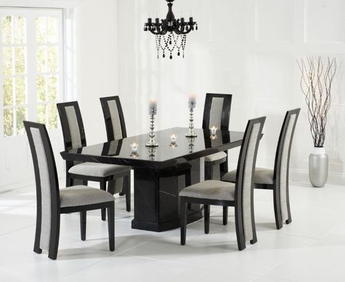 Black marble dining table with 6 chairs