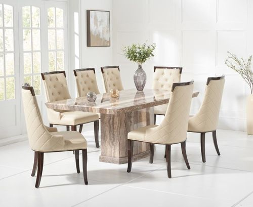 Natural brown marble dining table and 6 cream chairs