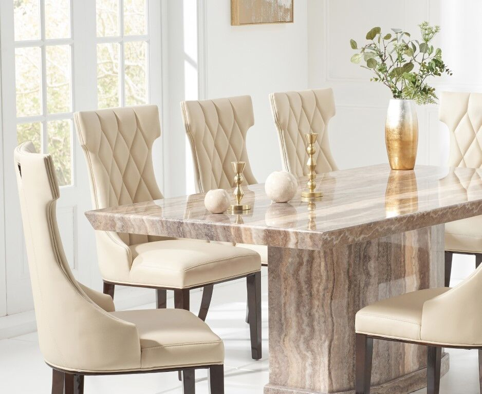 8 Seater Natural Brown Marble Dining