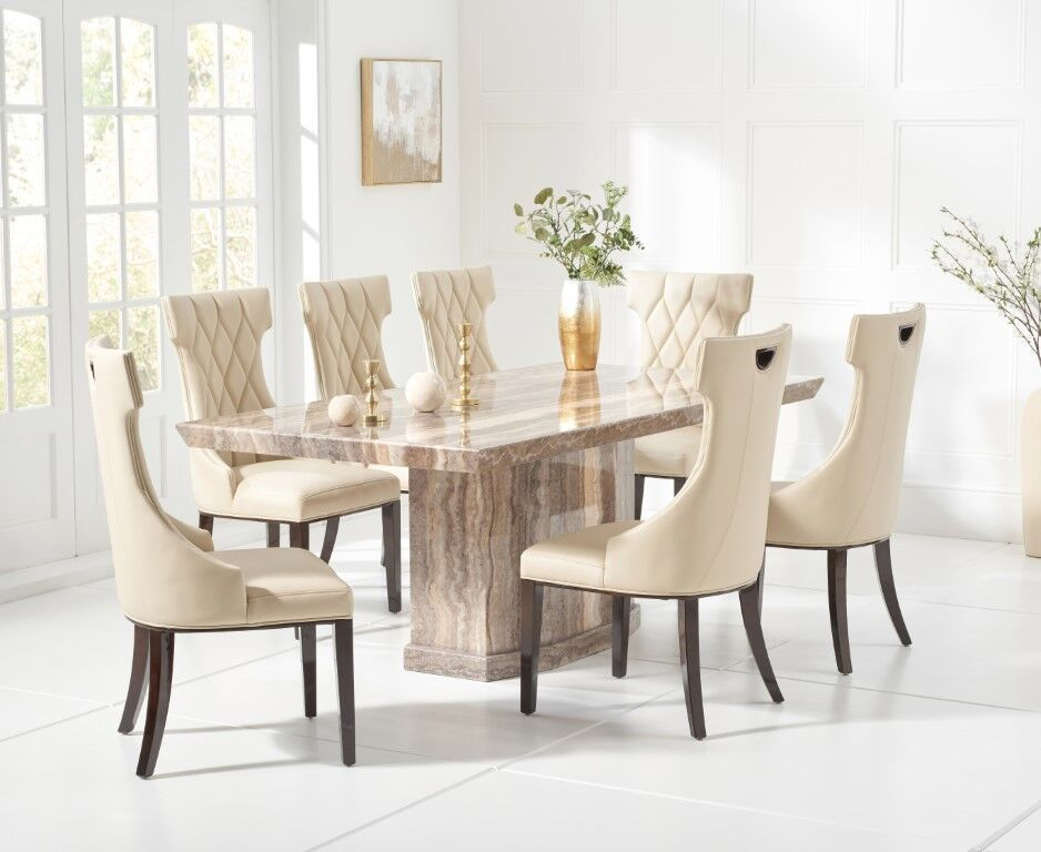 6 Seater Natural Brown Marble Dining Table Chairs Homegenies