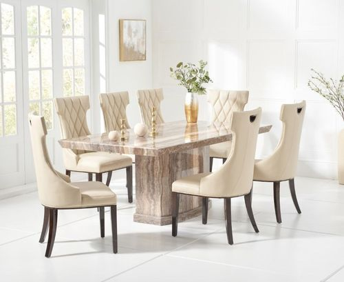 6 Seater natural brown marble dining table and cream chairs