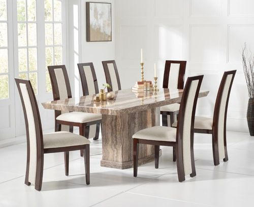 Natural brown marble dining table and 6 fabric chairs