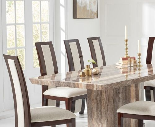Natural brown marble dining table and 8 fabric chairs