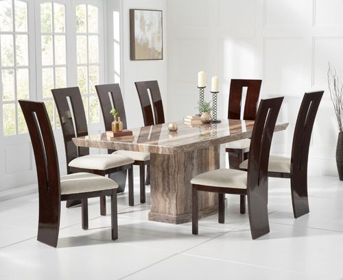 Natural brown marble dining table and 8 gloss chairs