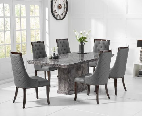 Natural grey marble dining table and 8 grey chairs