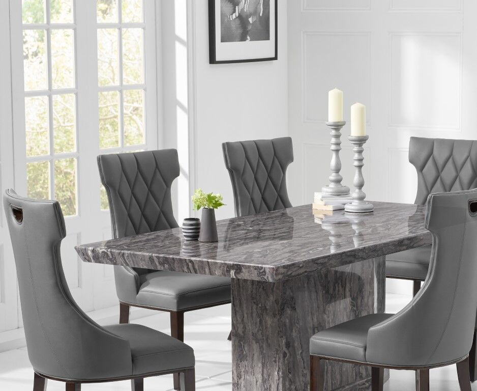 8 Seater natural grey marble dining table and chairs ...