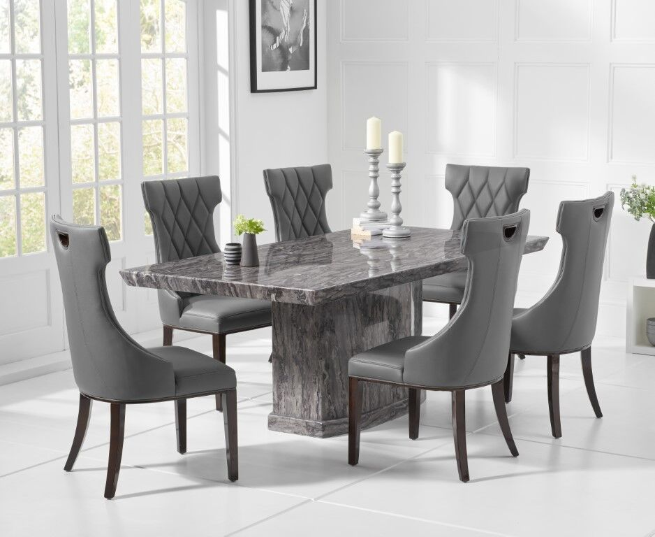 8 Seater Natural Grey Marble Dining Table And Chairs Homegenies