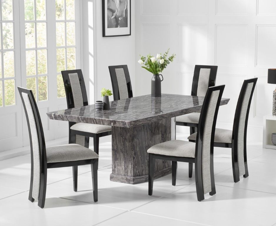 Strange Natural Grey Marble Dining Table And 6 Fabric Chairs Andrewgaddart Wooden Chair Designs For Living Room Andrewgaddartcom
