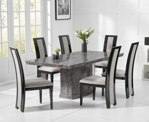 Natural grey marble dining table and 6 fabric chairs