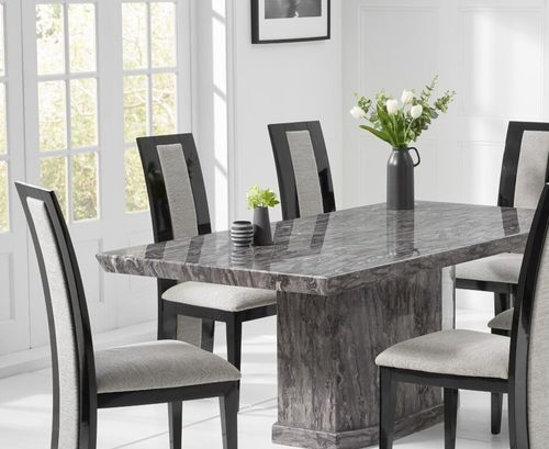 Natural grey marble dining table and 8 fabric chairs