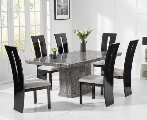 Natural grey marble dining table and 8 black gloss chairs