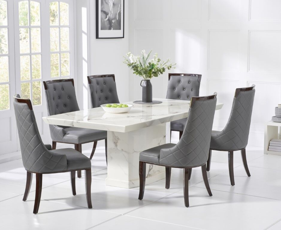 Stylish white marble dining table with 6 grey chairs ...