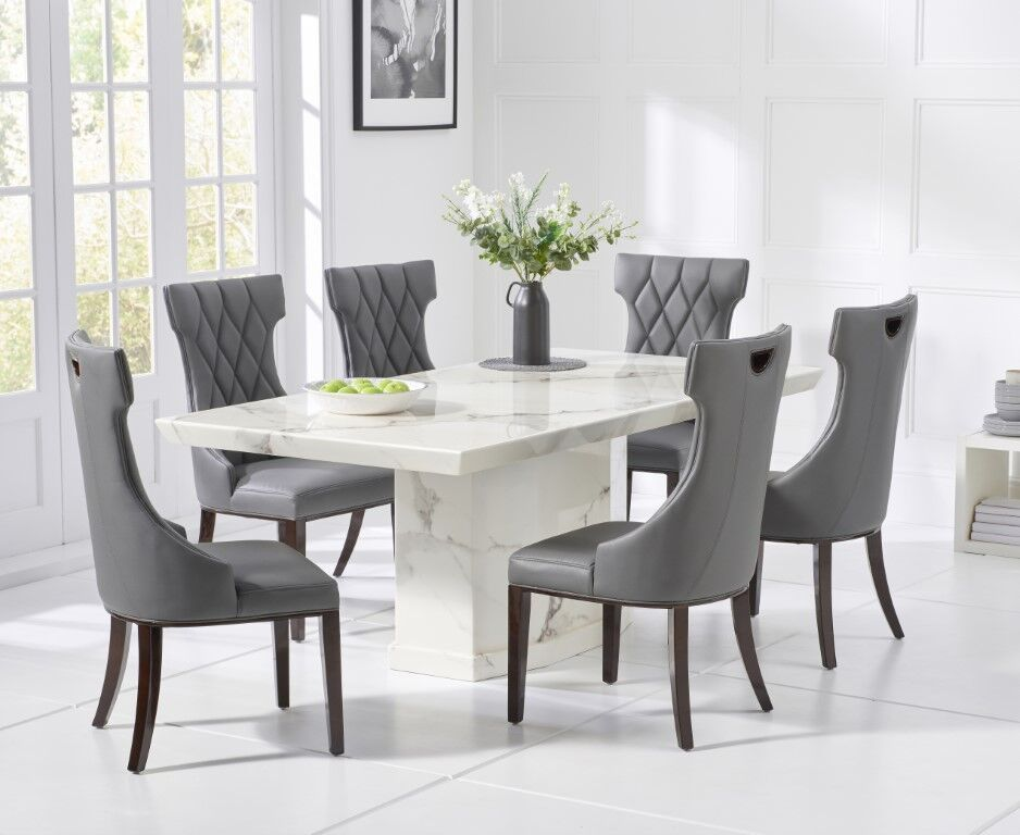 200cm 8 Seater White Marble Dining Table And Chairs Homegenies