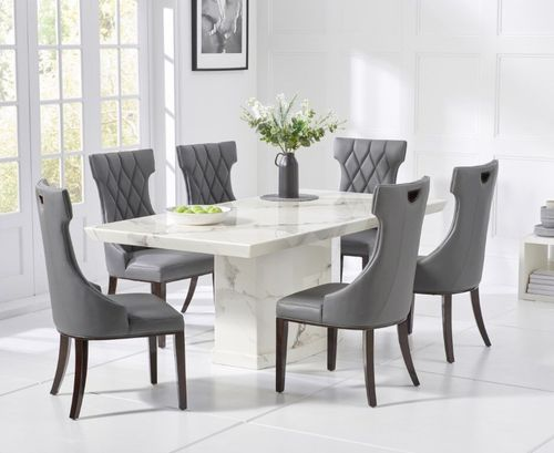 200cm 8 Seater white marble dining table and chairs
