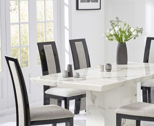 200cm White marble dining table and 8 fabric chairs