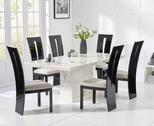 160cm White marble dining table and 6 black gloss chairs