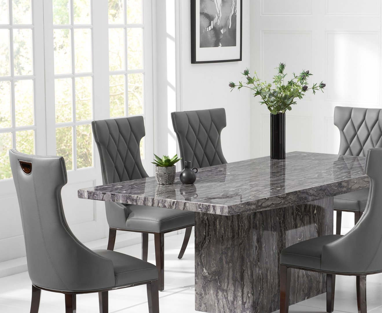 Modern Grey Marble Dining Table Set With 6 Chairs Homegenies