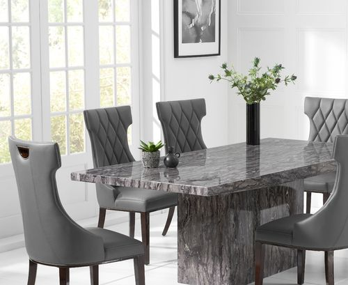 Modern grey marble dining table set with 6 chairs