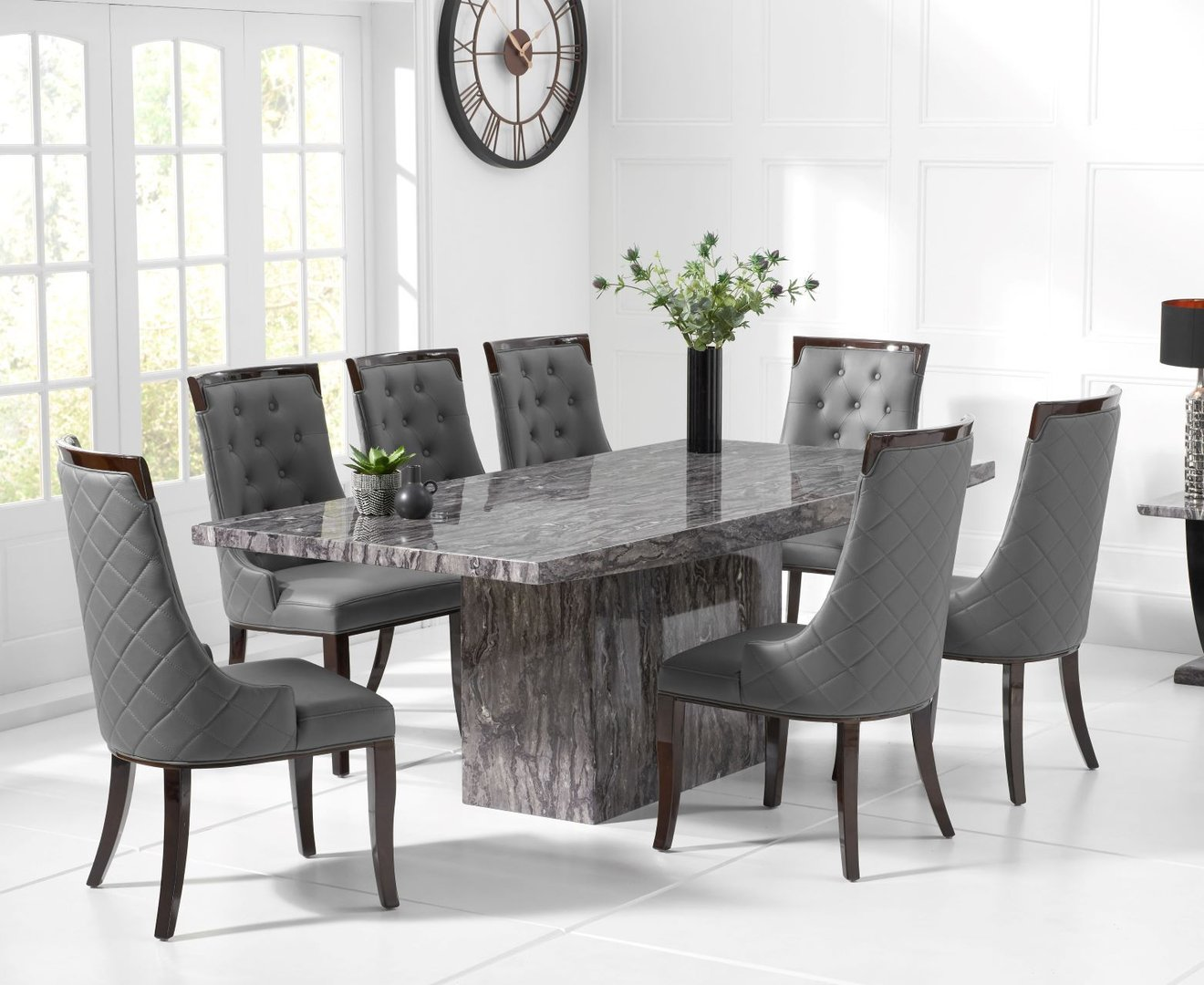 Large Grey Marble Dining Table And 8 Chairs Homegenies