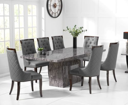Large grey marble dining table and 8 chairs