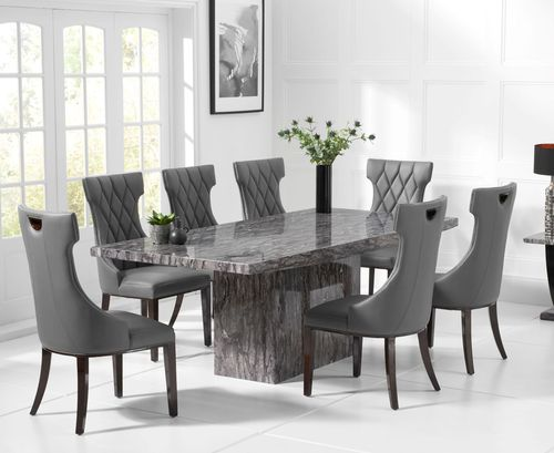 220cm Grey marble dining table and 8 chairs