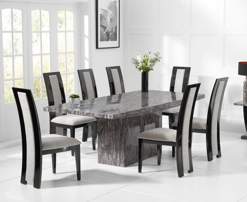 220cm Grey marble dining table and 8 fabric chairs