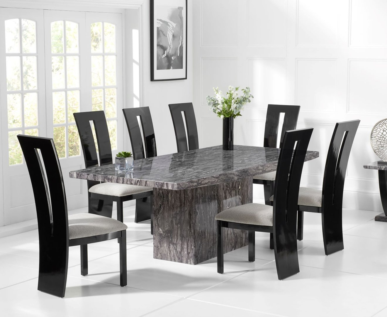 Large Grey Marble Dining Table 8 Black Gloss Chairs Homegenies