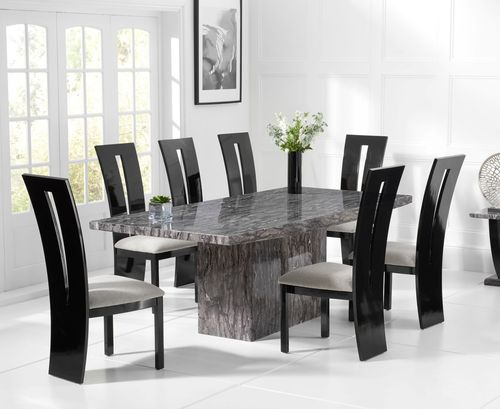 Large grey marble dining table and 8 black gloss chairs