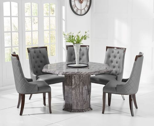 Octagonal grey marble dining table and 4 chairs