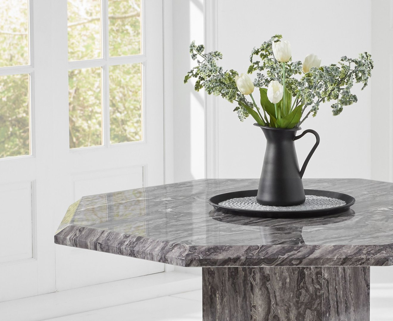 Octagonal grey marble dining table and 4 grey chairs ...